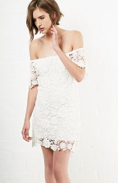 Nightcap Caribbean Crochet Off-Shoulder Dress in White 1 - 3 | DAILYLOOK