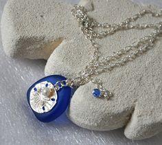 Sand Dollar Necklace Cobalt Blue Sea Glass by jewelrybyirina, $36.50