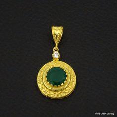 NATURAL GREEN ONYX BYZANTINE 925 STERLING SILVER 22K GOLD PLATED GREEK PENDANT #IreneGreekJewelry #Pendant