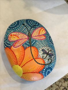 Dragonfly, painted stone, rock art, dot painting