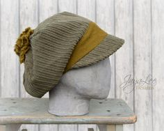 Olive Green Slouchy Corduroy Beanie Hat by Jaya Lee.