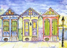 This is a watercolor of a trio of shotgun houses in New Orleans!  This was a gift TO ME from my sister, Lisa Carriere, who is a WONDERFUL artist! She is who inspired me to paint! Check out her website at freezingcajun.com!!