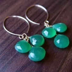 Green Onyx Cluster Earrings 14k Gold by friedasophie on Etsy, $49.00