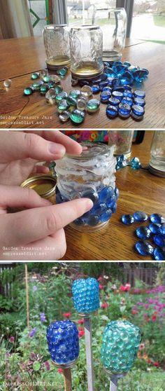 DIY Garden Treasure Jars Garten Ideen, Jars Gardening, Treasure Jar, Gartenarbeit - DIY and Crafts 2019 Outdoor Crafts, Outdoor Projects, Garden Projects, Kids Garden Crafts, Garden Kids, Diy Garden Decor, Mason Jar Crafts, Mason Jars, Glass Jars