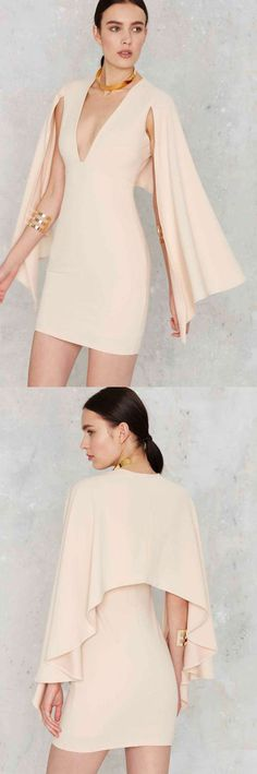 Cape Dress - Nude ==