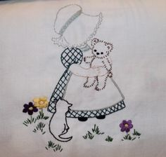 Hand embroidered Sunbonnet Sue with kittens.