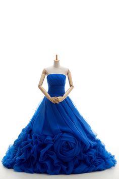 カラードレス激安 プリンセスライン ロイヤルブルー 当店の人気商品 大きいな巻花モチーフ vj0176-royalblue 税込: ¥36,180