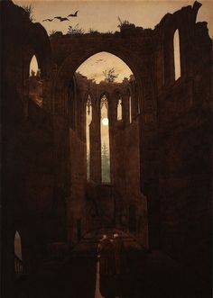 "art-is-art-is-art: ""Ruins of the Oybin Monastery, Caspar David Friedrich "" C D Friedrich, Caspar David Friedrich Paintings, Casper David, Art Gallery, Art Graphique, Beautiful Paintings, Art And Architecture, Dark Art, Oeuvre D'art"