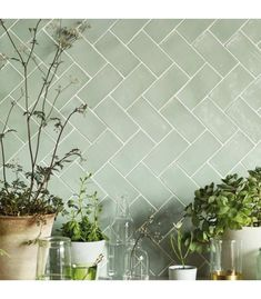 Our handmade glazed tiles are made in Spain and Portugal, each one is hand glazed meaning each one is completely unique and when laid they create a beautifully reflective surface. There are beautiful deep colours and subtle neutrals all with nuances and details that can only be created by natural pigments and hand glazing. Green Tile Backsplash, Wall Tiles Design, Bathroom Wall Tile, Herringbone Tile Bathroom, Glazed Tiles, Glass Splashback, Green Tile Bathroom, Green Bathroom, Olive Green Kitchen