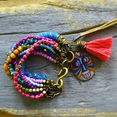 ethnic bead, bohemian ethnic, charm bracelets, charms, beaded bracelets, gypsi bohemian, tassel, bohemian charm, diy
