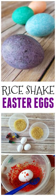 Rice shake easter egg decorating is a fun no mess activity for the kids! So pret… Rice shake easter egg decorating is a fun no mess activity for the kids! So pretty. Easter Egg Dye, Coloring Easter Eggs, Easter Party, Egg Coloring, Easter Bunny, Easter Eggs Kids, Easter Food, Easter Table, Easter 2018