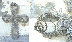 antique french beaded funeral wreaths | Antique French beaded cross funeral crown funerary beadwork flowrers ...