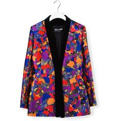 Balmain Balmain Patch Blazer (11.380 BRL) ❤ liked on Polyvore featuring outerwear, jackets, blazers, multicolor, gold button blazer, pattern jacket, yves saint laurent, floral-print blazers and patterned blazer