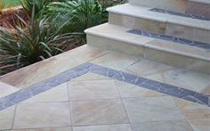 used on a path. A Limestone border has been used to contrast the sandstone path Sandstone Pavers, Pool Paving, Pools, Teak, Melbourne, Tile Floor, Outdoor Living, Contrast, Outdoor Life