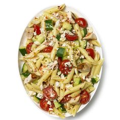 Pasta Salad With Chicken, Cucumber, Cherry Tomatoes and Feta (Would replace the feta w/mozzarella or queso fresco)