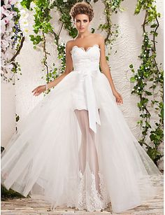 A-Line Sweetheart Neckline Floor Length Tulle Made-To-Measure Wedding Dresses with Appliques by LAN TING BRIDE®