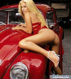 Vw Beetle #Sexy girl .... ♠ VW beetle # kinky # heels # old school ♠... X Bros…