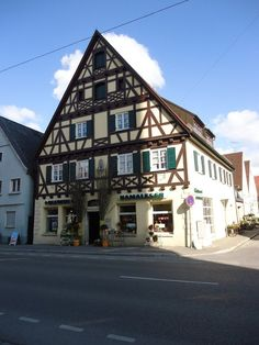 A typicall german Fachwerkhaus (half-timbered-house) in Lauingen, Germany.