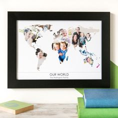 Personalised 'Our World' Photograph Map. The perfect gift for family members, and great for someone who is hard to buy for. Choose photos from family holidays, weddings, and even ones of your beloved pet! Makes a special birthday, Christmas, or housewarming present. www.helloruth.co.uk
