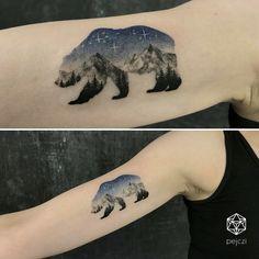 double exposure bear - mountain landscape tattoo by pejczi, polish tattoo artist