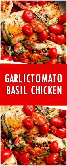 Garlic tomato basil chicken Fresh Family Recipes food for thought Chicken Basil Recipes, Grape Tomato Recipes, Garlic Basil Chicken, Chicken Fillet Recipes, Fresh Basil Recipes, Chicken Recipes With Tomatoes, Chicken Breast Fillet, Healthy Chicken Recipes, Cooking Recipes