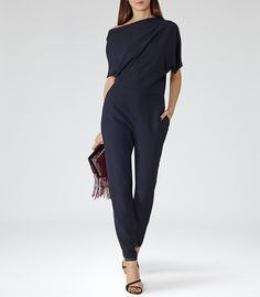 Womens Slate Asymmetric Jumpsuit - Reiss Jayne