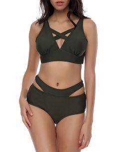 babb27dd87d04 Blackish Green Cross Strap Bikini Back Self-Tie Bottom Side Cut Out