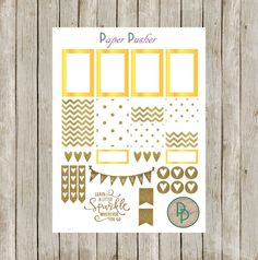 This Gold and Gold Glitter Planner Sticker set includes 8 different types of stickers-Large Squares, Half Boxes, Checklists, Weekend Banner, and