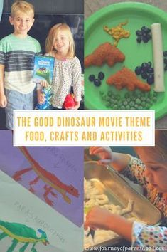 the good dinosaur movie theme summer activity. All the food, crafts and fun for a perfect family movie night! Disney Dinosaur Movie, Dinosaur Movies For Kids, The Good Dinosaur, Toddler Learning Activities, Outdoor Activities For Kids, Disney Trips, Disney Travel, Family Movie Night, Movie Themes