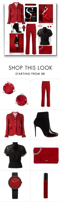 """""""Red"""" by terry-tlc ❤ liked on Polyvore featuring Kate Spade, MaxMara, Gucci, Christian Louboutin, RED Valentino, Miu Miu, NYX, WorkWear, fashionset and polyvoreeditorial"""
