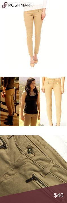 Michael Kors Izzy Zipper Pocket Khaki Skinny Jeans Brand new with tags, women's size 4. Retails for $130! These Michael Kors Izzy Zipper Pocket Khaki Skinny Jeans were seen worn by Happy Quinn on the TV show Scorpion. These are a slightly darker shade with antique brass zippers. Ankle length skinny jeans. Two unique front zipper pockets. Pictures 3-4 shows actual color of jeans. Michael Kors Jeans Skinny