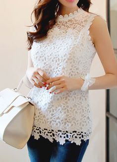 Stereoscopic Pumice Lace Sleeveless Tee, Style Tami