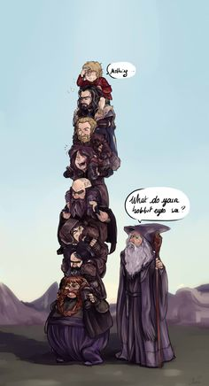 Hahaha~ oh bilbo. Though 13 dwarves on shoulders will topple. Have this gut feeling. :P