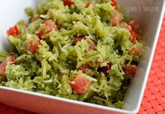 "Spaghetti Squash Pesto with Tomatoes - my husband calls this ""squashta"" since I usually make it with pasta."