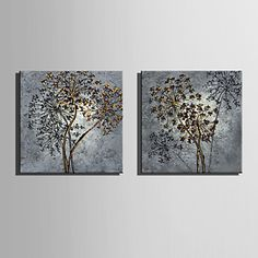 E-HOME® Stretched Canvas Art Flowers Decoration Painting Set of 2 4803836 2017 – $17.54