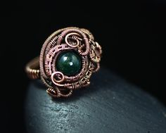 Moss agate ring jewelry copper wire weave arty by OrioleStudio