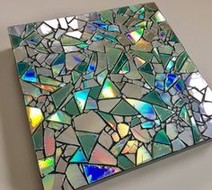 Your place to buy and sell all things handmade Upcycled CD Mosiac 8 Canvas Art Piece Cd Mosaic, Mosaic Crafts, Mosaic Projects, Mosaic Mirrors, Recycled Cds, Recycled Art Projects, Diy Projects, Cd Diy, Ideias Diy