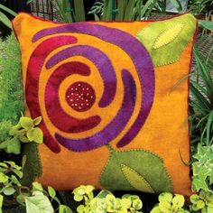 Vintage Rose Wool Applique Throw Pillow
