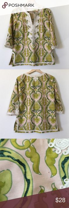 J. Crew Top J. Crew Top. Pullover top, 100% silk, 3/4 sleeve, great trim accents, has pulls in material it looks like part of the design. Small speck on the front (shown in picture), pulls in back are a little more shown. In good condition. J. Crew Tops