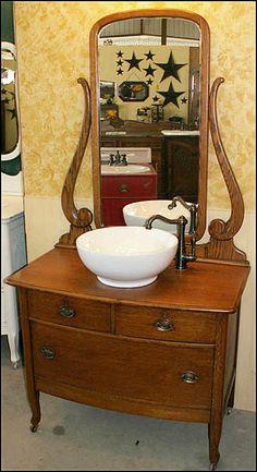 pinterest antique dresser sink | ... Antique Bathroom Vanity Princess Dresser With Vessel Sink From Canton