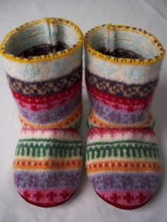 These gorgeous boots are handmade from repurposed sweater wool. Genuine red leather/suede on the soles is non-skid and safe. Booties are warm, durable