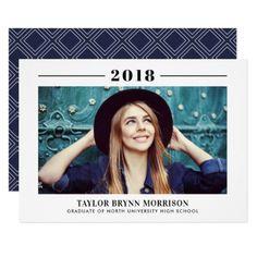 2018 Minimalist Photo Graduation Party Invitation - graduation party invitations card cards cyo grad celebration
