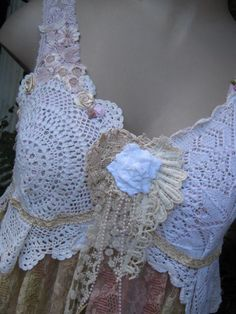 Vintage Kitty.. lace, roses..shabby chic cami , vintage doilies, pearls, pink.. cream, ecru, large. $147.00, via Etsy.