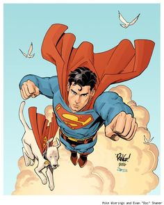 "Superman & Krypto by Mike Wieringo and Evan ""Doc"" Shaner Superman Art, Superman Family, Superman Man Of Steel, Batman, Superman Stuff, Comic Book Artists, Comic Artist, Comic Books Art, Comic Character"