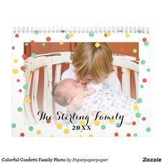 Colorful Confetti Family Photo Calendar