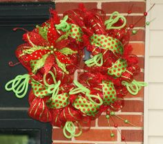 Deco Mesh Christmas Wreath Ribbon Wreath Christmas by hgab129, $75.00
