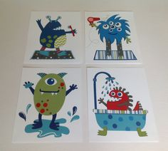 "Bathroom kids art, cute little monster bathroom boys art, children's art prints, blue green red set of four 8x10"""