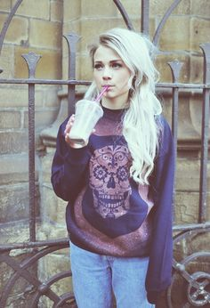 Hipster girl. WANT this sweatshirt!!