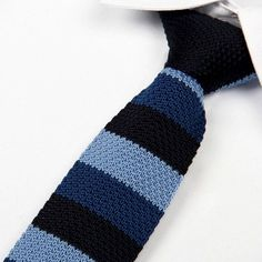 Black and Blue Striped Knit Tie - The Gentleman Shoppe Crochet Men, Crochet Gifts, Knit Tie, Modern Gentleman, Tie And Pocket Square, Pocket Squares, Skinny Ties, Men Style Tips, Classic Man