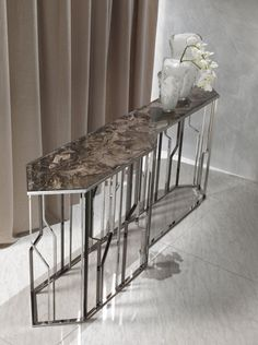 Longhi Ginza console Frappuccino Marble Top with Bright Chrome Base